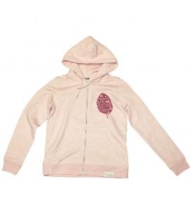 Veste zippée à capuche Kun_tiqi «Leaf», Femme, Cream Pink