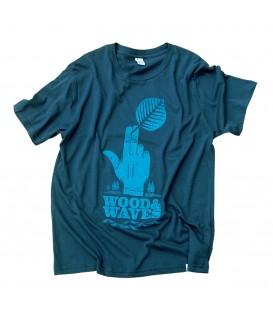 """Kun_tiqi t shirt """"Wood&Waves"""", diesel blau"""