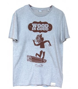 "Kun_tiqi T-Shirt ""Wood is Good"", grau"