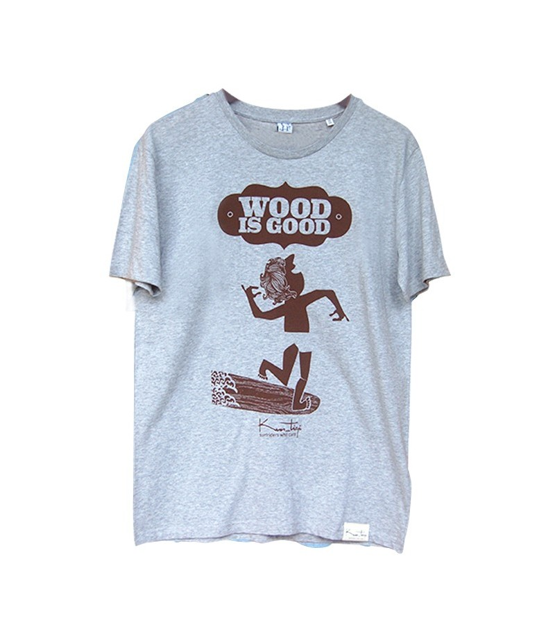 "Kun_tiqi t shirt ""Wood is Good"", ecru"
