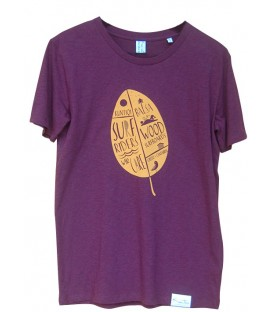 Tee-shirt Kun_tiqi, «Feuille», Homme, raisin rouge