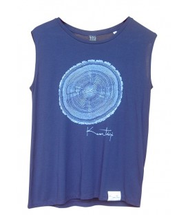 "Kun_tiqi ""Life cycle"" T-Shirt Organic & Fair, navy blue, sleeveless"