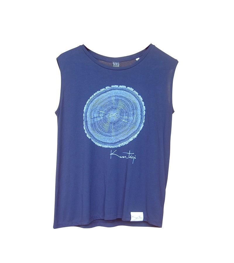 Kun_tiqi Tee-shirt «Life cycle», Femme, bleu marin sans manches