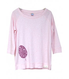 "Kun_tiqi Sweat shirt 3/4 ""Leaf"", pink - Women"